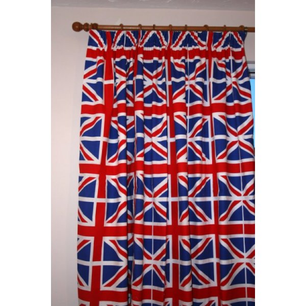 Perfect Union Jack Curtains   66 Inch X 54inch Drop. U2039