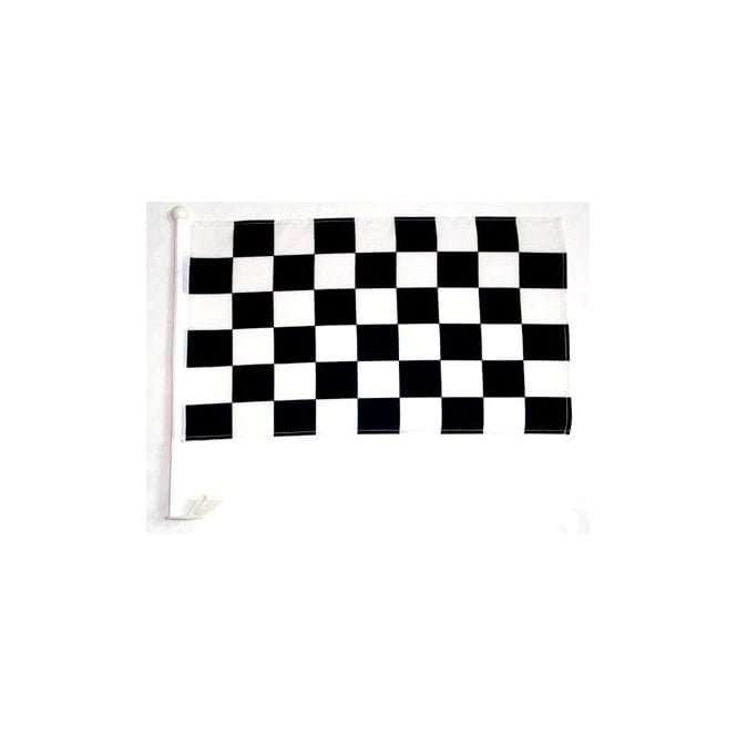 Union Jack Wear Black and White checkered Car Flag