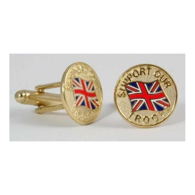Union Jack Wear Support Our Troops Cufflinks Union Jack & Gold