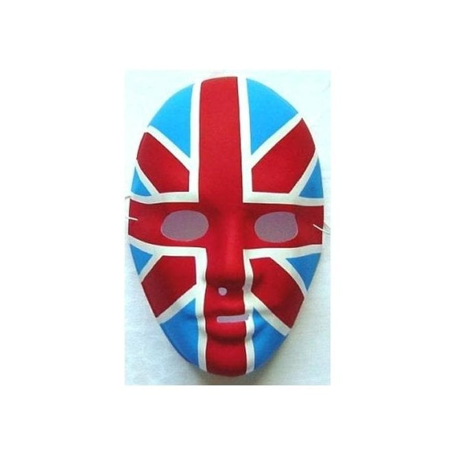 5 Plastic Union Jack Face Masks