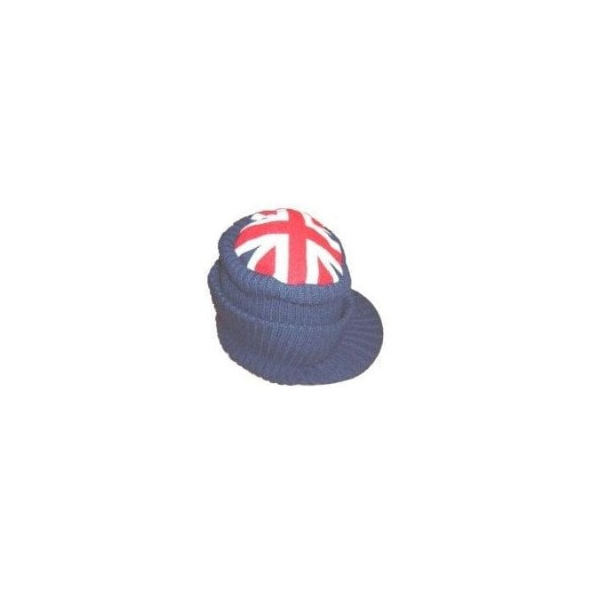 Union Jack Peaked Knitted Beanie hat
