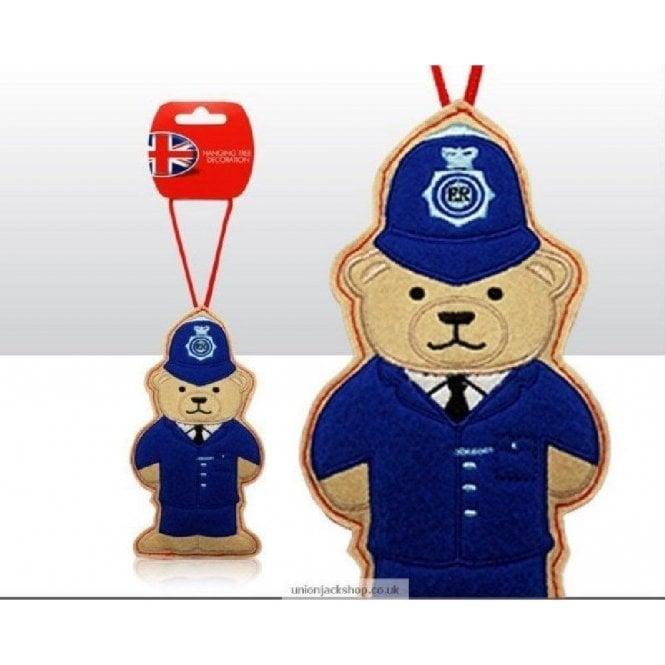 Union Jack Wear Policeman Bear Felt Christmas Tree Decoration
