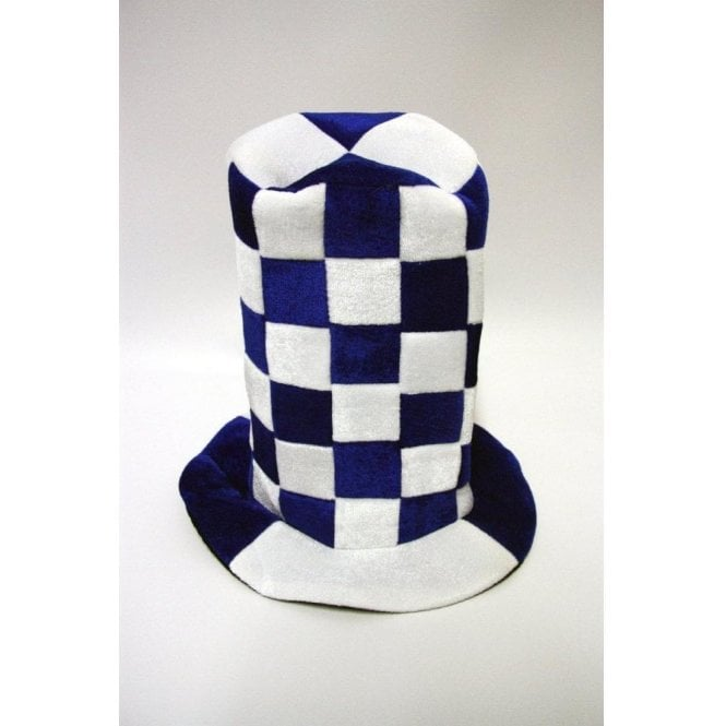 Blue and White checkered Topper hat