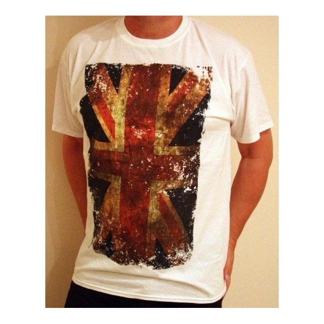 Union Jack Wear Union Jack T shirt White with 'smudge' design Union Jack