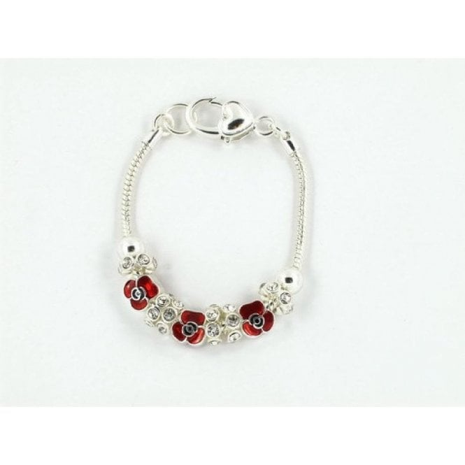 Union Jack Wear Poppy Charm Bracelet