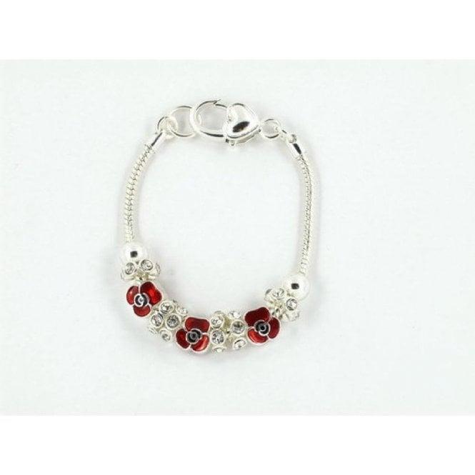 Union Jack Wear Poppy Charm Bracelet
