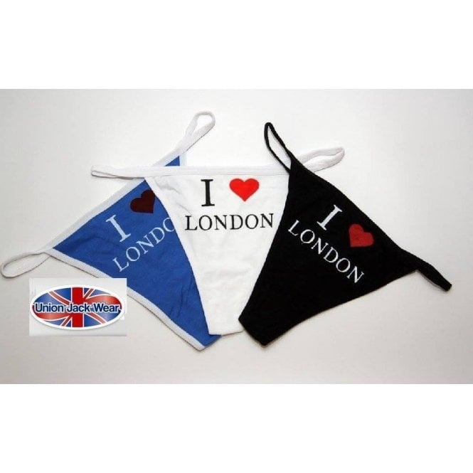 Union Jack Wear I Love London Thongs 3Pk