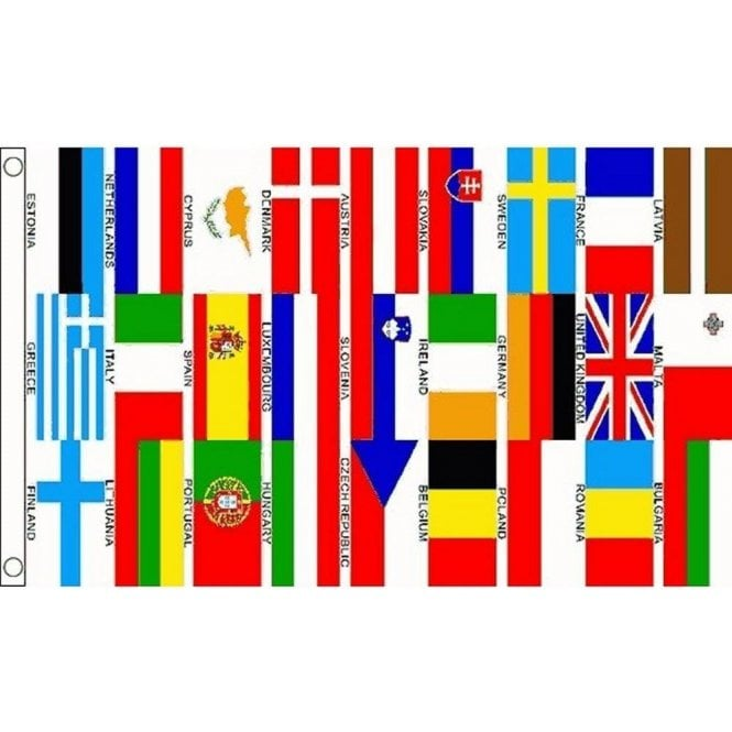 Union Jack Wear Euro 27 Nations Flag 5' x 3' Includes Union Jack - Collectable - BREXIT