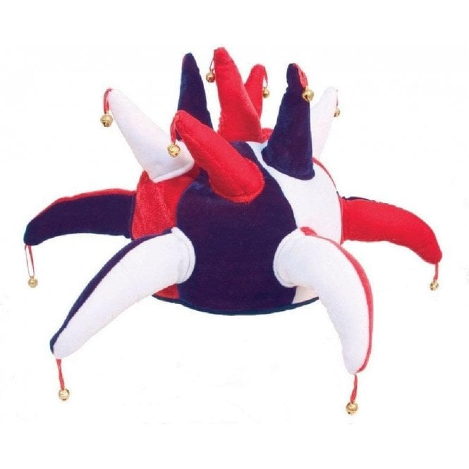 Union Jack Wear Red White and Blue Jester hat with bells