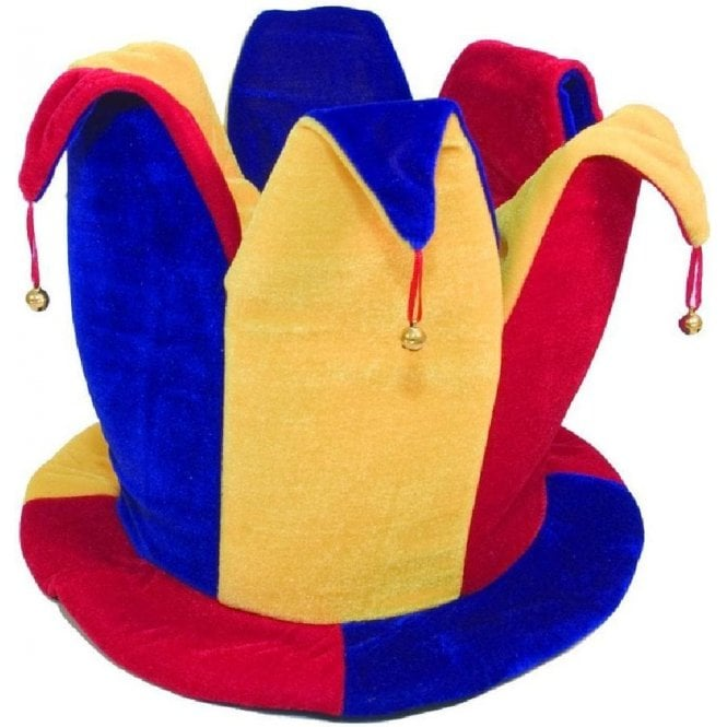 Union Jack Wear Red Blue & Yellow Jester Topper hat with bells