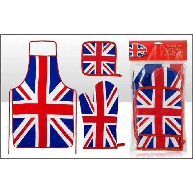Union Jack Wear Union Jack Apron, Oven glove and Pot Holder set