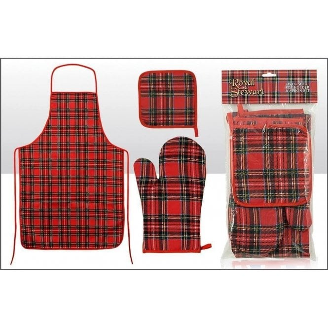 Union Jack Wear Scottish Tartan Apron, Oven Glove and Pot Holder set