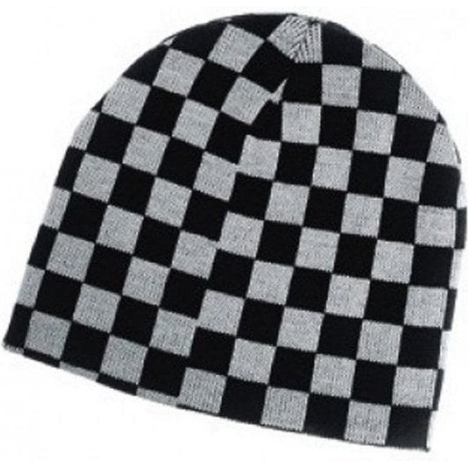 Union Jack Wear Black and White Checkered Ska, Two Tone Beanie Hat