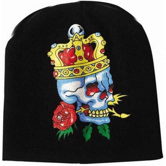 Union Jack Wear English Red Rose Royal Skull Beanie hat