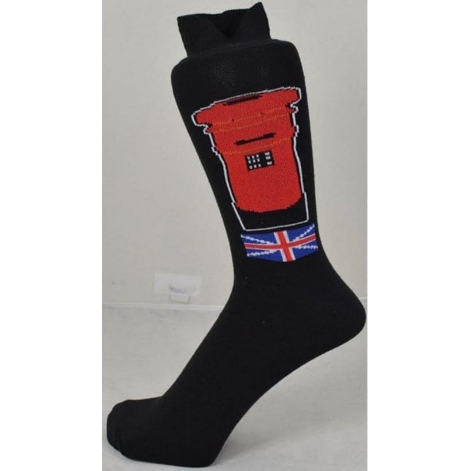 Union Jack Wear Red Post Box Men's Socks with Union Jack & Royal Mail Box