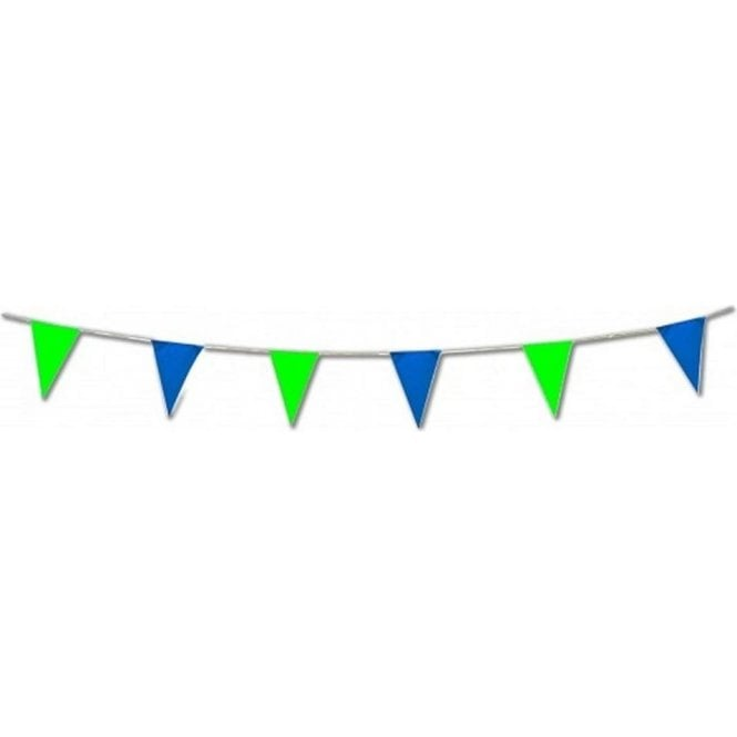 Green and Blue Pennant Bunting 17 feet for Indoor or Outdoor use