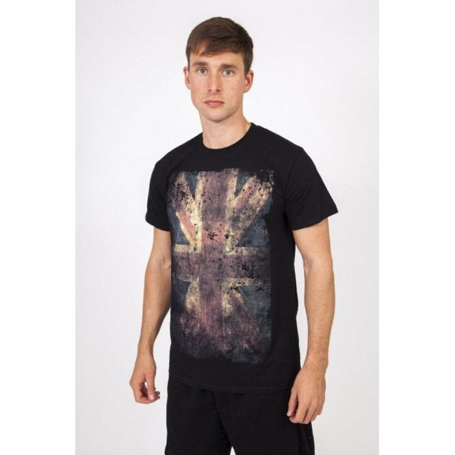 Union Jack Wear Designer Union Jack T shirt - Black - Smudge design