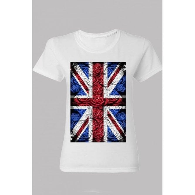Union Jack Wear Ladies Rose Design Union Jack T shirt White