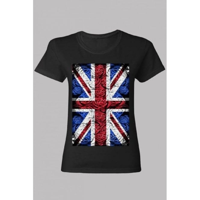 Union Jack Wear Ladies Rose Design Union Jack T shirt Black