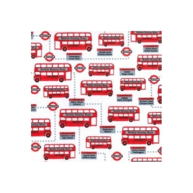 London Red Bus Polycotton Fabric