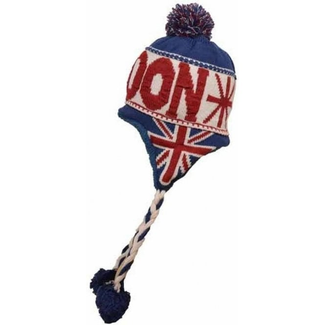 51d647ea212 Union Jack London Design Peruvian Hat with Pom Pom