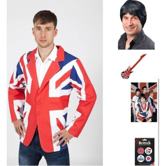 Pete Townshend Fancy Dress Kit Union Jack Jacket, 60's Wig, The Who