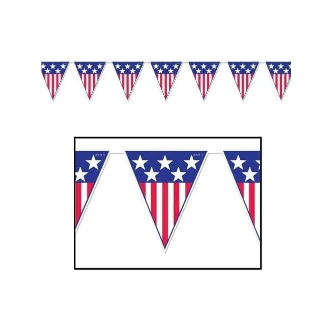 Union Jack Wear Spirit of America USA Bunting 12 ft Triangle Flags