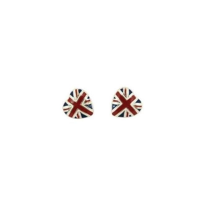 Union Jack Wear Union Jack Heart Ear rings - Silver
