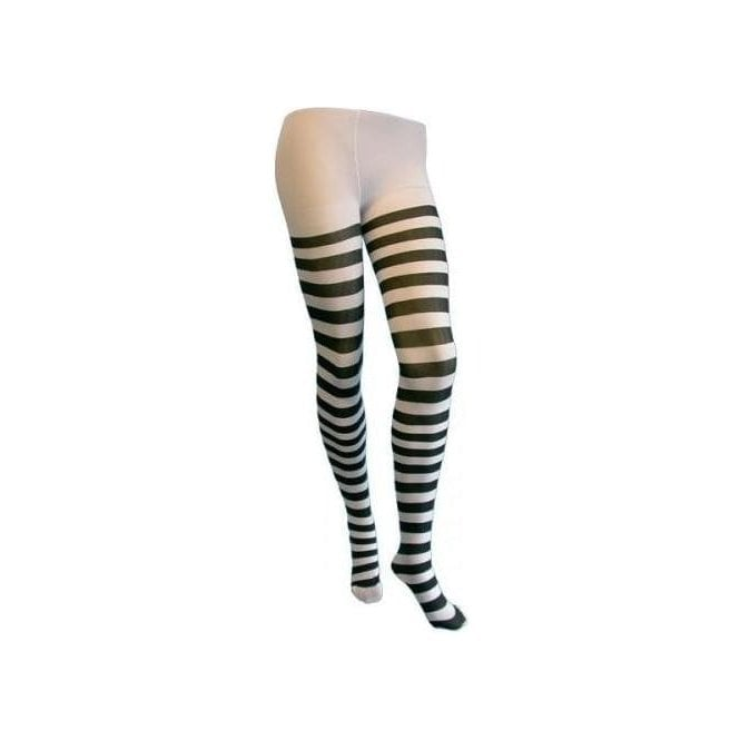 Union Jack Wear Black & White Striped Tights