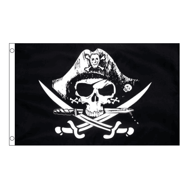Union Jack Wear Skull with Cross Sabres 5' x 3' Flag