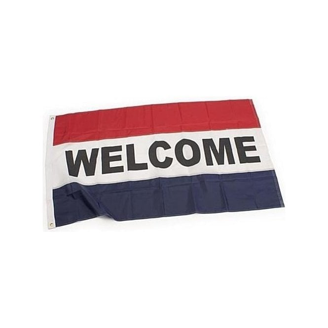 Union Jack Wear Welcome Flag 5' x 3' in red, white & blue