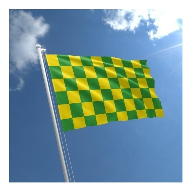 Union Jack Wear Green & Yellow Checkered Flag 5' x 3'