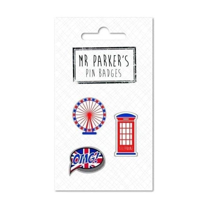 Union Jack Wear Iconic British Pin Badges London Eye - Phone Box & Union Jack