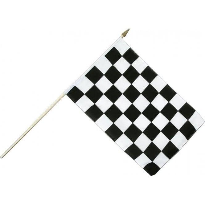 Union Jack Wear Black & White Checkered Hand Flag 2ft
