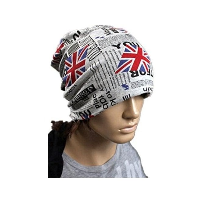 Union Jack Wear Union Jack Newspaper Print Slouch Beanie