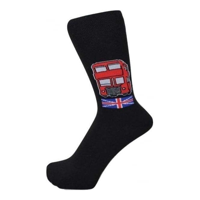 Union Jack Wear London Red Bus Design Men's Socks