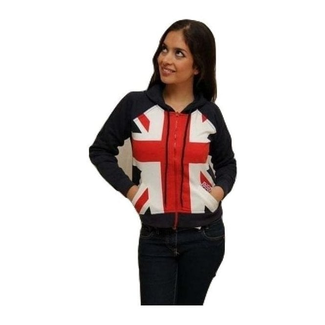 Ladies Union Jack Zipped Hoodie