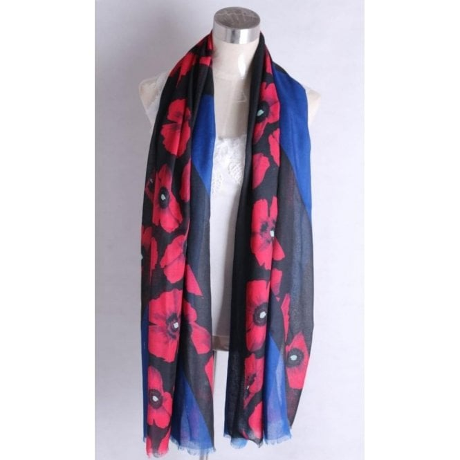 Union Jack Wear Union Jack Poppy Scarf 1.8m x 1m Black & Blue