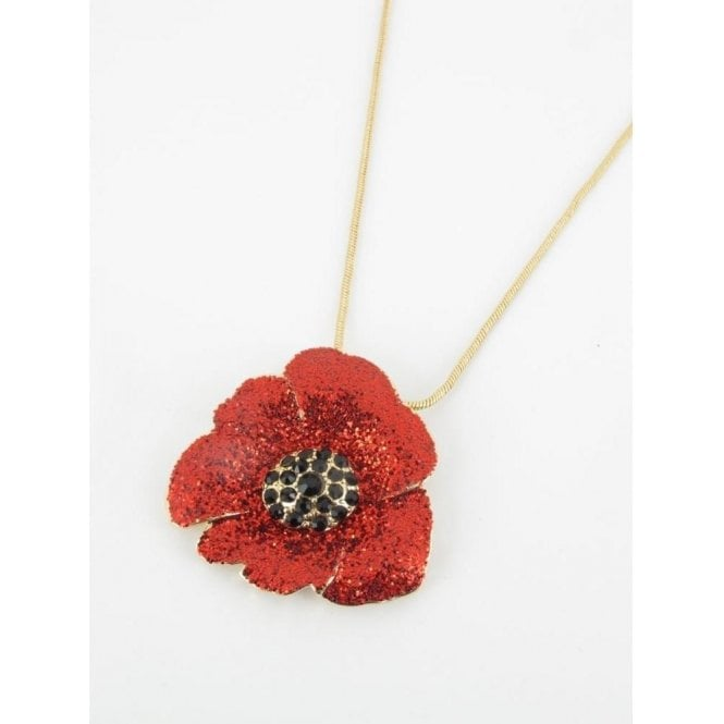 "18"" Poppy Pendant - Gold Finish Glitter Red Enamel"