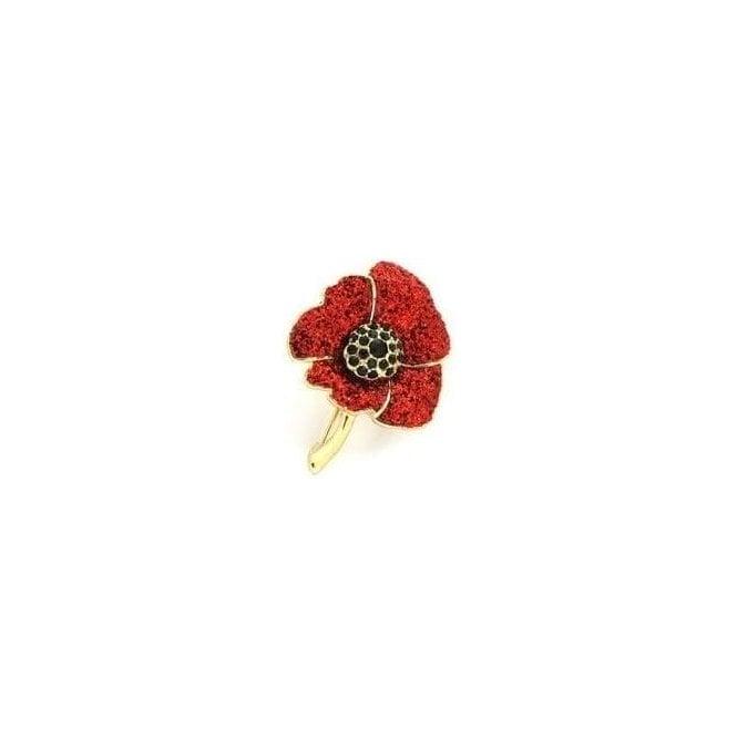 Union Jack Wear Glittering Red & Gold Poppy Brooch
