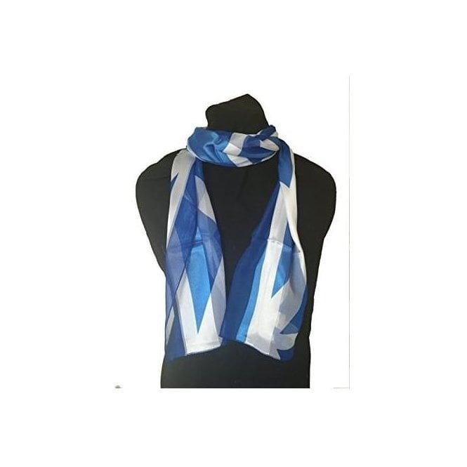 Union Jack Wear Scotland Flag scarf. Saltire Blue & White St Andrew Flag scarf