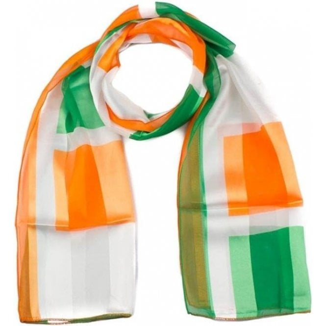 Irish Satin Scarve orange & Green silky scarf
