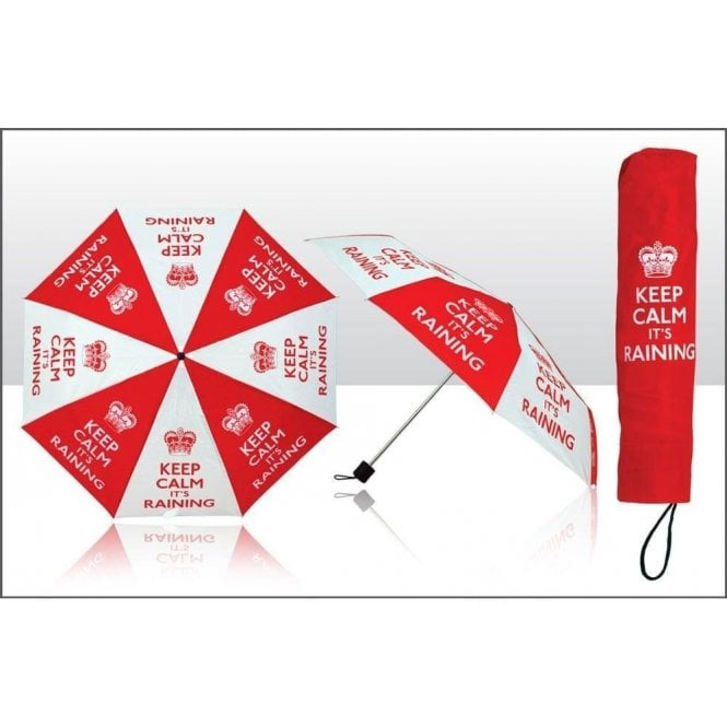 Union Jack Wear Keep Calm It's Raining Umbrella Red and White print Umbrella with Crest / Crown