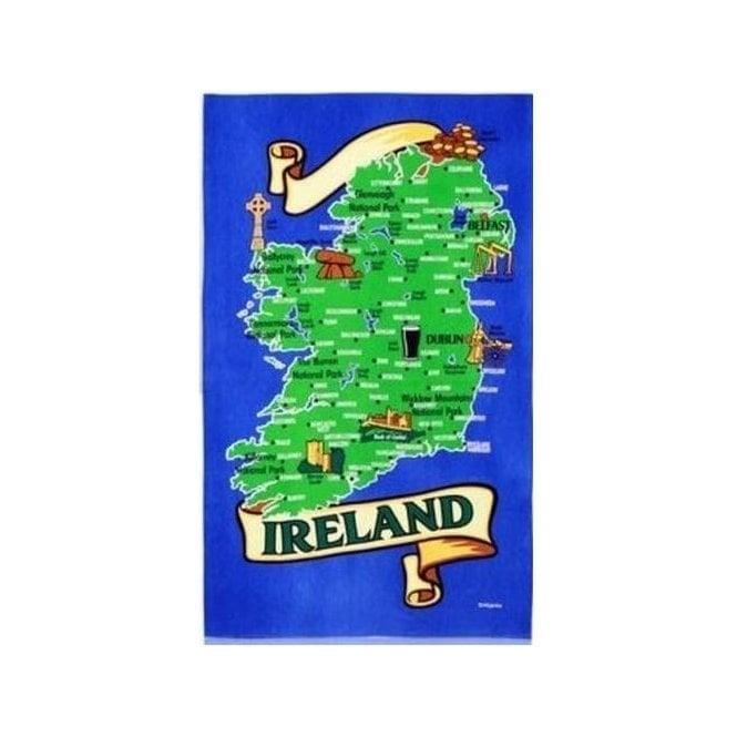 Union Jack Wear Map of Ireland Tea Towel