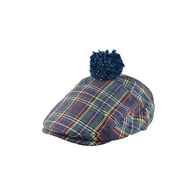 Union Jack Wear Scottish Green Tartan Pom Flat Cap