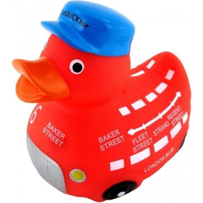 Union Jack Wear London Red Bus Rubber Duck - the ConDUCKtor