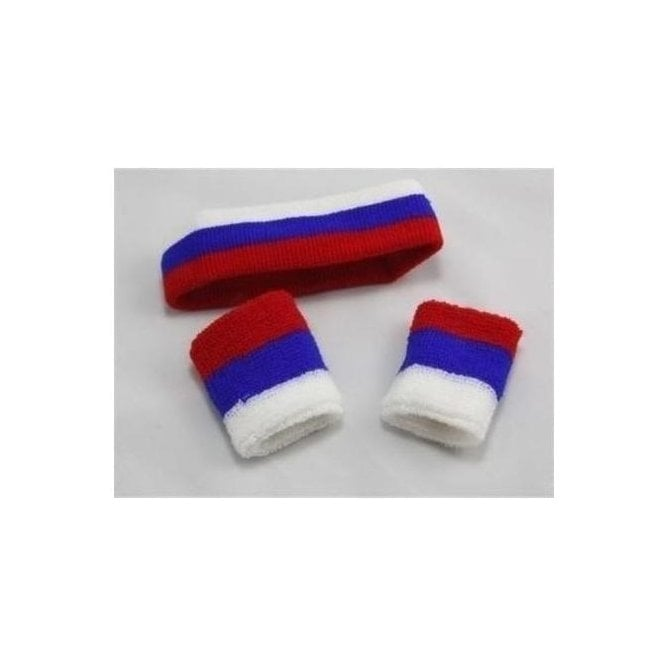 Union Jack Wear Red White and Blue Sweatband set