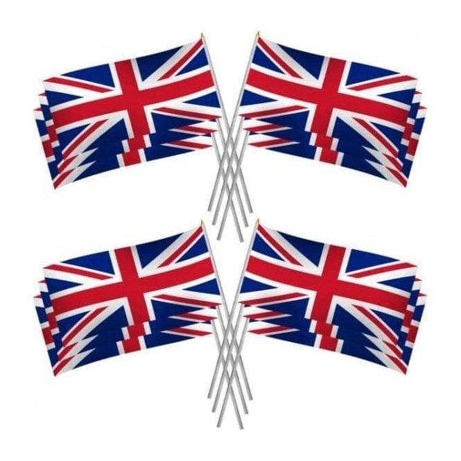 Union Jack Wear 3pk Large Union Jack Hand Flags. PVC flag 29cm x 17cm