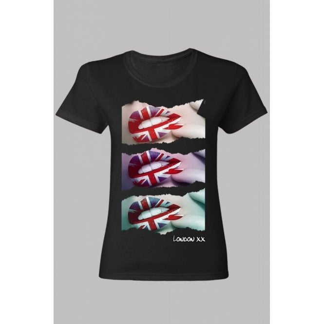Union Jack Wear Union Jack Lips Skinny ladies T-Shirt Black