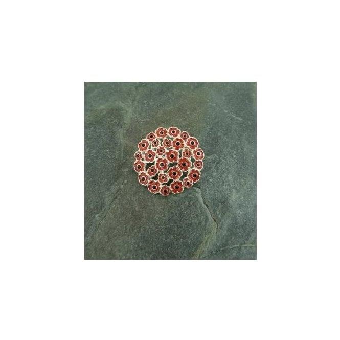 Union Jack Wear Multi Poppy Brooch Silver finish